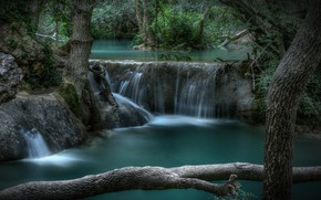 Картинка лес, деревья, река, Франция, водопад, каскад, France, Provence-Alpes-Côte d'Azur, Сийан-ла-Каскад, Sillans-la-Cascade Waterfall