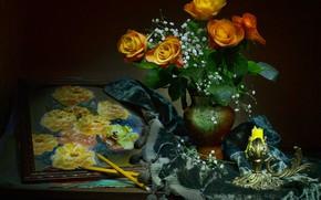 Обои карандаши, свеча, натюрморт, гипсофила, розы, стиль, картина, цветы