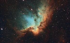 Обои NGC 7380, космос, звезды, Wizard Nebula