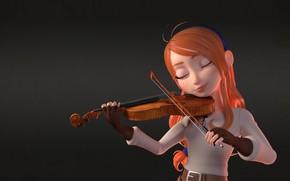Картинка девушка, скрипка, арт, скрипачка, Helena, Antonio Mello