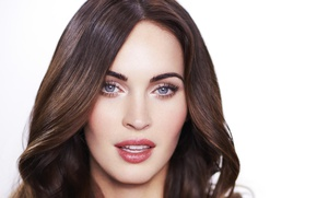 Картинка взгляд, Меган Фокс, Megan Fox, портрет, макияж, актриса, брюнетка, hair