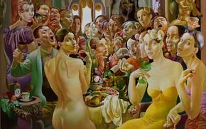 Картинка люди, пир, 1994, Фигуративная живопись, Normunds Braslins, Общество II, золотой ангел