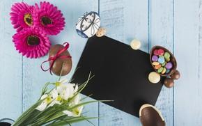 Картинка цветы, яйца, весна, конфеты, Пасха, хризантемы, wood, flowers, нарциссы, chocolate, spring, Easter, eggs, decoration, Happy, …
