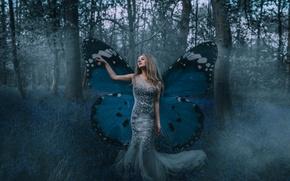 Картинка лес, девушка, настроение, бабочка, платье, крылышки