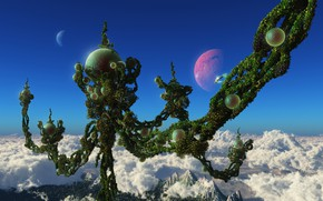 Картинка небо, облака, горы, рендеринг, фантазия, мир, растение, планета, сфера