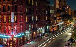 Картинка ночь, город, огни, улица, здание, автомобили