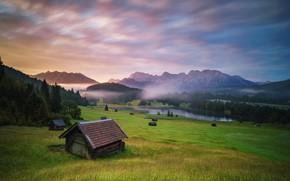 Картинка лес, горы, туман, озеро, Германия, домики, Germany, Bayerische Alpen, фотограф Andy Donath