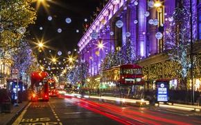 Картинка огни, праздник, Англия, Лондон, дома, Новый Год, Рождество