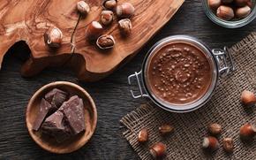 Обои шоколад, орехи, десерт, шоколадная паста
