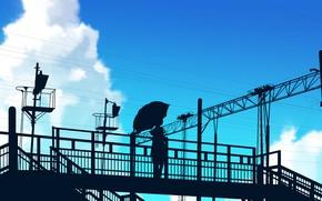 Картинка небо, девушка, зонт, силуэт, эстакада