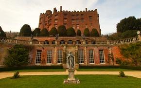 Картинка замок, газон, Великобритания, статуя, архитектура, Wales, Powis Castle