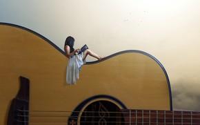 Обои девушка, фон, гитара