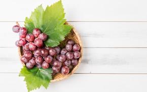 Картинка листья, ягоды, миска, Виноград
