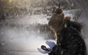 Картинка холод, зима, птица, девочка, fly, fly my little bird