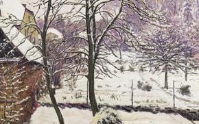 Картинка зима, пейзаж, картина, Gustave Cariot, Гюстав Карио, Сад под Снегом