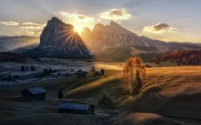 Картинка солнце, свет, горы, долина