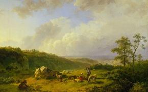 Картинка масло, картина, холст, Баренд Корнелис Куккук, Пейзаж с Приближающимся Дождём
