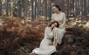 Картинка осень, лес, девушки