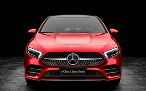 Обои 2019, L Sport, A200, A-Class, Sedan, Mercedes-Benz, вид спереди