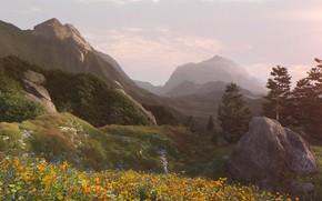 Картинка горы, растительность, Mountain Vista, mountain valley