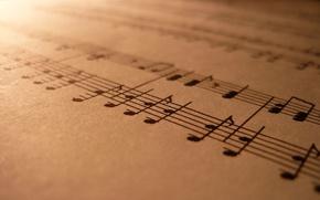 Обои музыка, ноты, макро