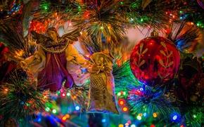 Картинка шар, новый год, боке, мешочек, ёлка, украшения, игрушки, ангел, праздник