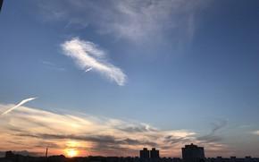 Картинка небо, облака, пейзаж, закат, город, россия