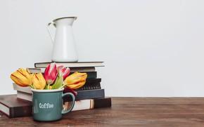 Картинка цветы, книги, букет, colorful, кружка, тюльпаны, flowers, romantic, tulips, spring, coffee, mug