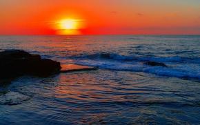 Картинка море, закат, скалы, горизонт, зарево