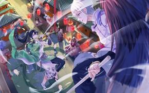 Картинка город, улица, ангел, аниме, арт, потасовка, Onmyouji, shan-n