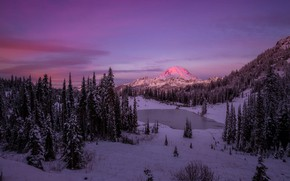 Картинка зима, лес, снег, закат, горы, Doug Shearer