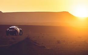 Картинка Закат, Солнце, Песок, Mini, Спорт, Пустыня, Rally, Dakar, Дакар, Ралли, Buggy, Багги, X-Raid Team, MINI …