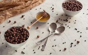 Картинка еда, завтрак, мед, шоколадные шарики
