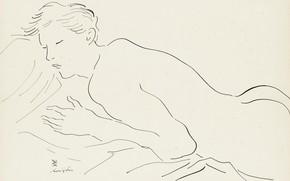 Картинка попа, бумага, перо и чернила, (Tsuguharu Foujita), Спящая обнаженная, пастедь