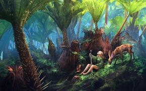 Картинка girl, sword, fantasy, forest, legs, flowers, leaves, animal, painting, blonde, artwork, warrior, fantasy art, deer, …