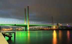 Картинка мост, огни, Австралия, опора, Мельбурн