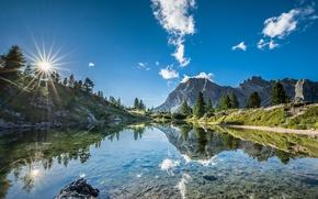 Обои небо, горы, озеро, отражение, Италия, Italy, Доломитовые Альпы, Южный Тироль, South Tyrol, Dolomites, Lago di ...