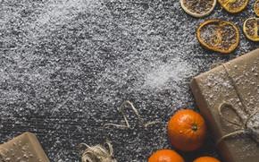 Картинка снег, подарок, новый год, цитрусы, мандарины