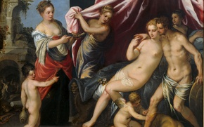 Картинка эротика, масло, картина, мифология, Венера и Марс, Ханс Роттенхаммер