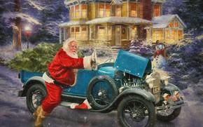 Картинка зима, снег, огни, дом, ретро, праздник, вечер, снеговик, автомобиль, санта клаус, классика