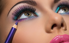 Картинка girl, eyes, brunette, make up