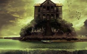 Картинка птицы, дом, растительность, лодка, остров, лестница, island of dream