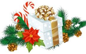 Картинка коробка, подарок, новый год, рождество, бант, шишки