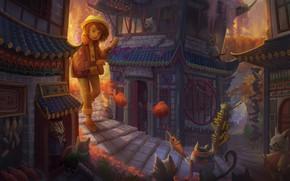 Картинка кошка, кот, город, дом, аниме, арт, девочка, детская, Yangtian Li, Cat Town, Возвращение кота