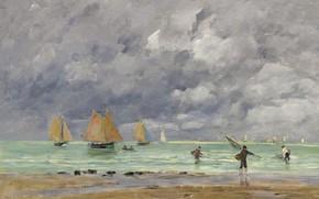 Картинка море, облака, картина, парус, Эжен Буден, Eugene Boudin, Рыбаки и Лодки Возле Трувиля