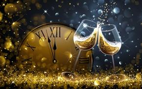 Картинка часы, новый год, бокалы, new year, шампанское, happy, боке, 2018