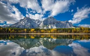 Обои облака, осень, Канада, Wedge Pond, Пруд Ведж, лес, Альберта, озеро, Canada, Alberta, деревья, Канадские Скалистые ...