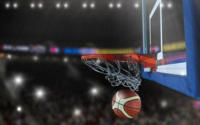 Обои корзина, баскетбол, боке, игра, мяч, огни