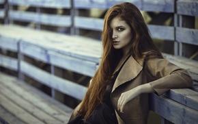 Картинка девушка, портрет, рыжая, длинные волосы