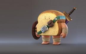 Обои настроение, меч, хлеб, Bread Warrior, воин, Zhang Chi, арт, рендеринг
